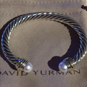 David Yurman 7mm Two tone 14k Pearl cable bracelet